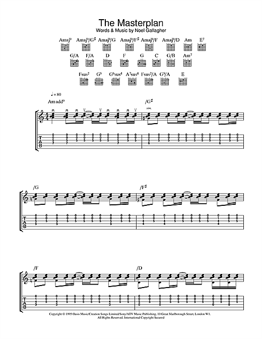 Tablature guitare The Masterplan de Oasis - Tablature Guitare