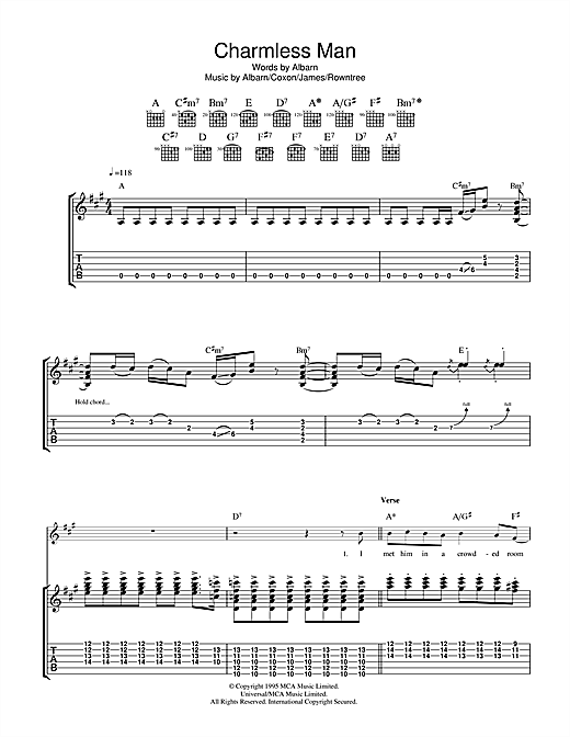 Tablature guitare Charmless Man de Blur - Tablature Guitare