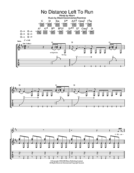 No Distance Left To Run Sheet Music
