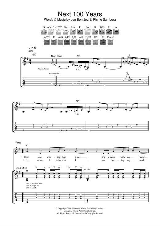 Tablature guitare Next 100 Years de Bon Jovi - Tablature Guitare