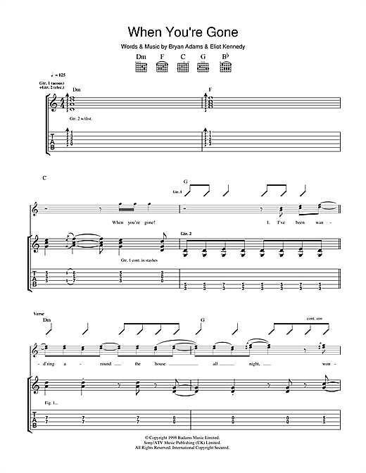 Tablature guitare When You're Gone de Bryan Adams - Tablature Guitare