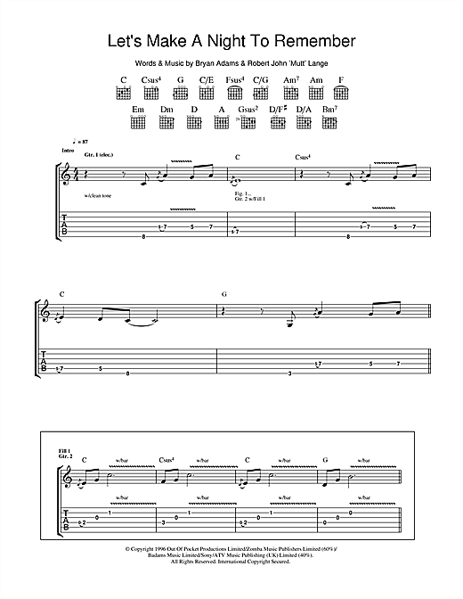 Tablature guitare Let's Make A Night To Remember de Bryan Adams - Tablature Guitare
