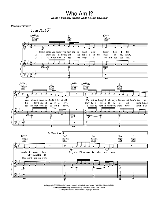 Who Am I Sheet Music
