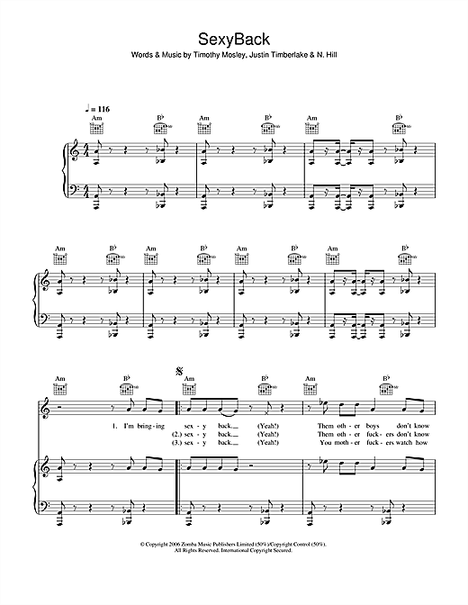 SexyBack (Piano, Vocal & Guitar (Right-Hand Melody))
