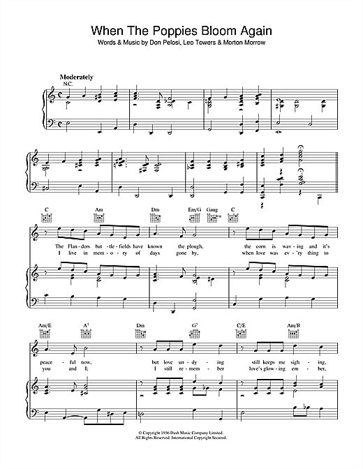 When The Poppies Bloom Again Sheet Music