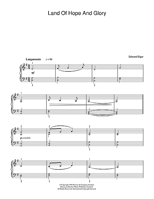 Partition piano Land Of Hope And Glory (Pomp And Circumstance, March No. 1) de Edward Elgar - Piano Facile