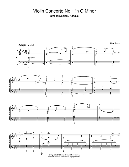 Partition piano Violin Concerto No.1 In G Minor (2nd Movement) de Max Bruch - Piano Facile