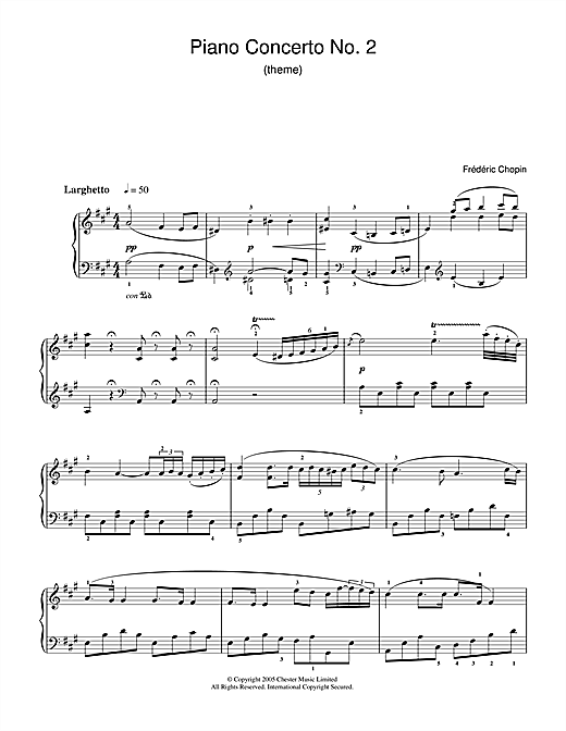 Partition piano Piano Concerto No.2 In F Minor de Frederic Chopin - Piano Facile