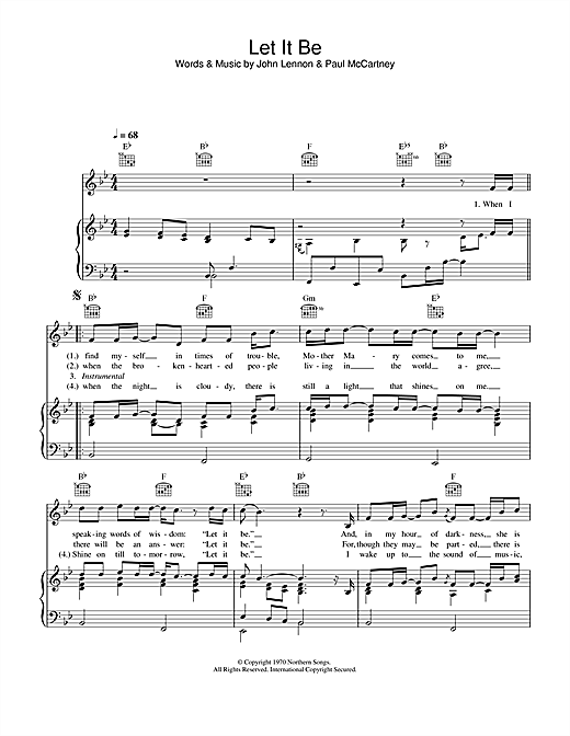 Let It Be Sheet Music