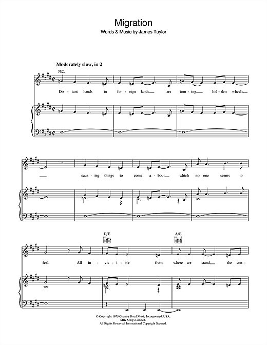 Migration Sheet Music