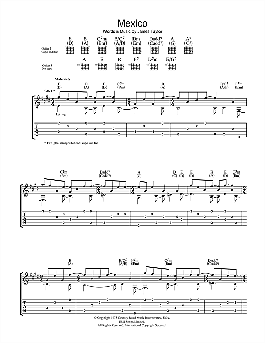 Tablature guitare Mexico de James Taylor - Tablature Guitare