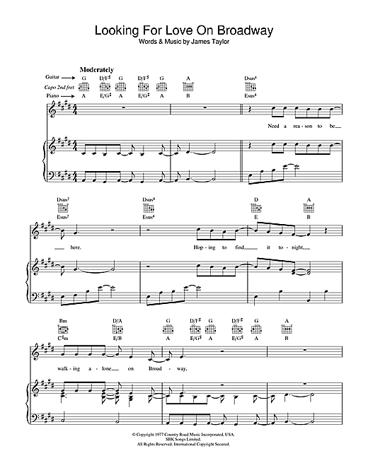 Looking For Love On Broadway Sheet Music