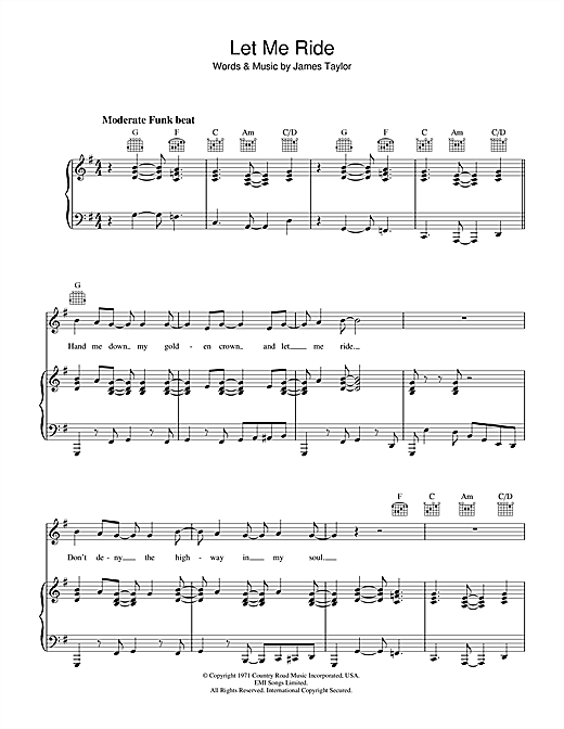 Let Me Ride Sheet Music
