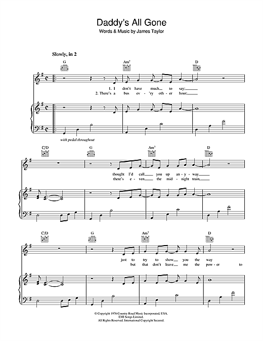 Daddy's All Gone Sheet Music