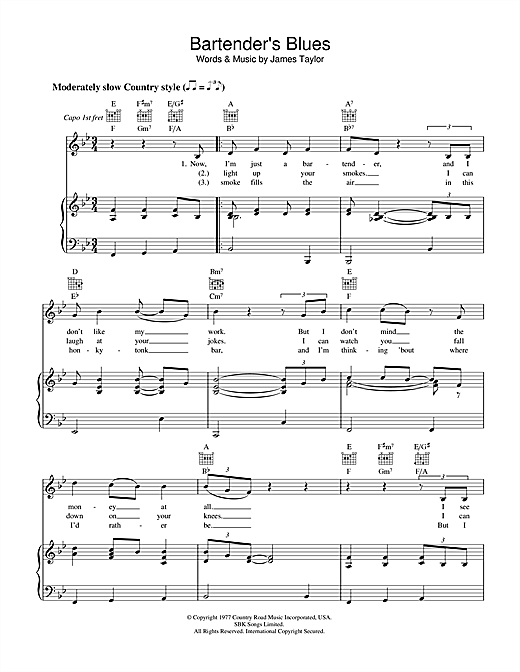 Bartender's Blues Sheet Music