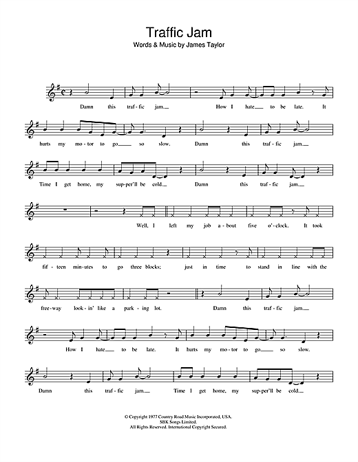Traffic Jam (Lead Sheet / Fake Book)