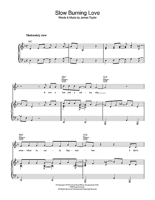 Slow Burning Love Sheet Music