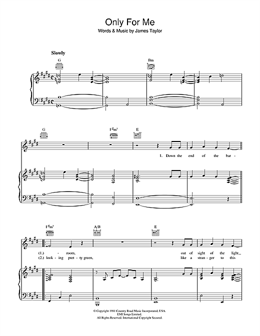 Only For Me Sheet Music