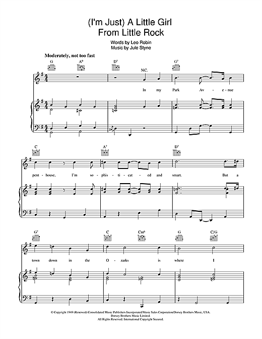 A Little Girl From Little Rock Sheet Music