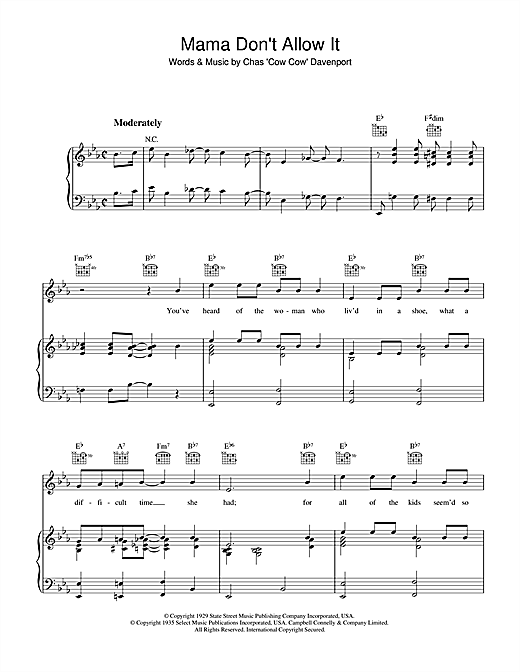 Mama Don't Allow It Sheet Music