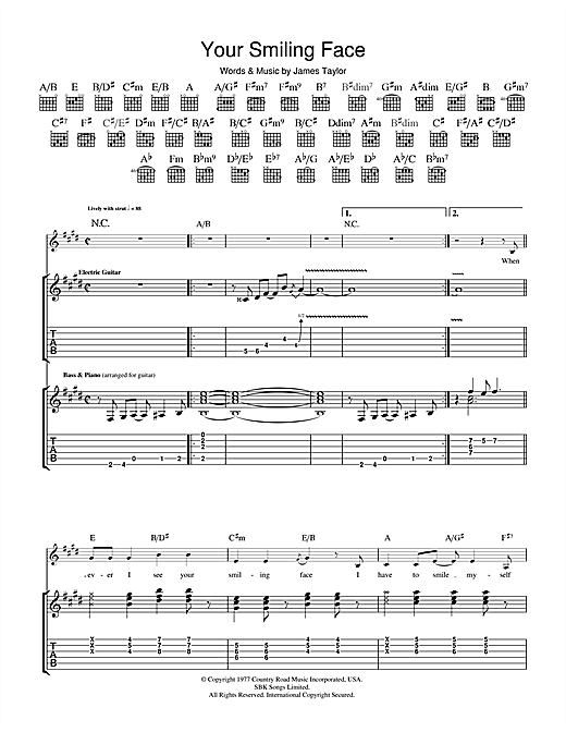 Your Smiling Face Sheet Music