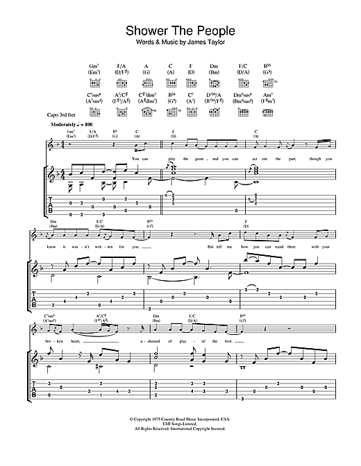 Tablature guitare Shower The People de James Taylor - Tablature Guitare