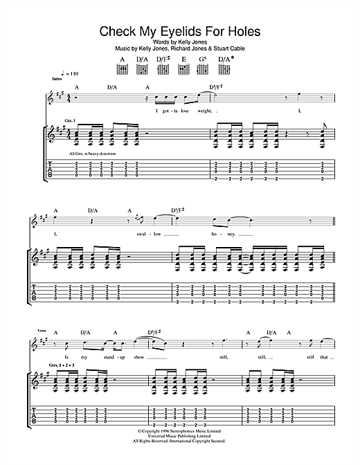 Tablature guitare Check My Eyelids For Holes de Stereophonics - Tablature Guitare