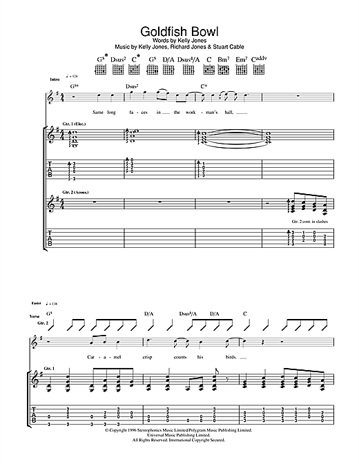 Tablature guitare Goldfish Bowl de Stereophonics - Tablature Guitare