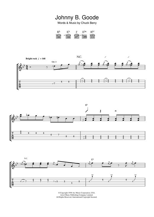 Tablature guitare Johnny B. Goode de Chuck Berry - Tablature Guitare