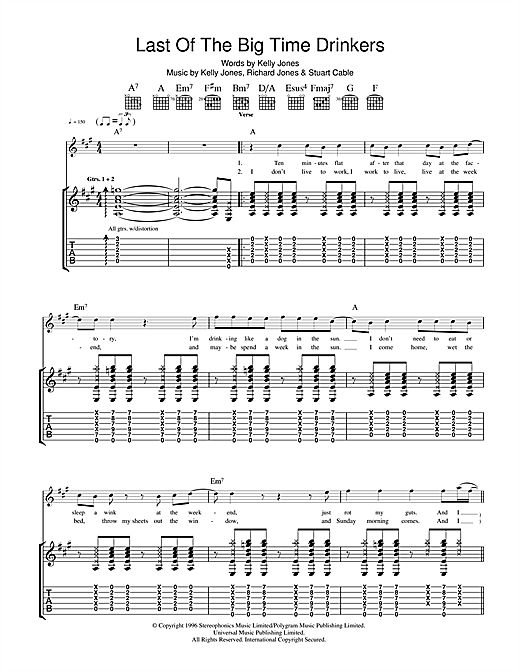 Tablature guitare Last Of The Big Time Drinkers de Stereophonics - Tablature Guitare