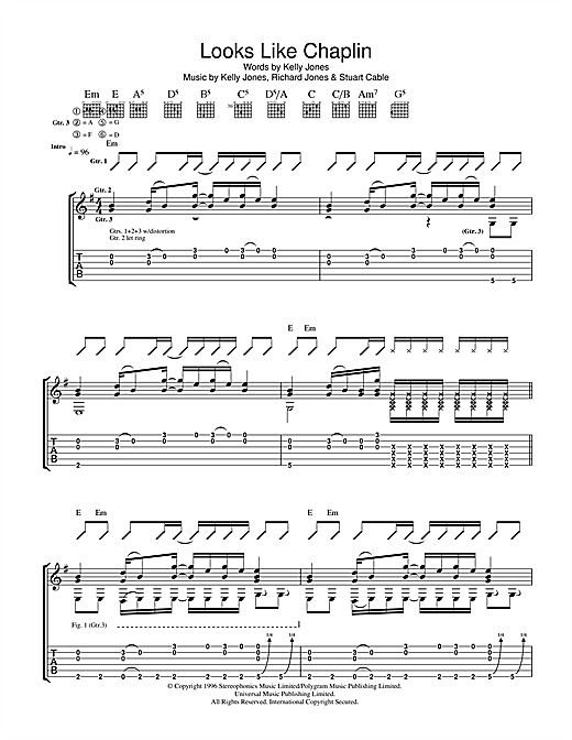 Looks Like Chaplin (Guitar Tab)