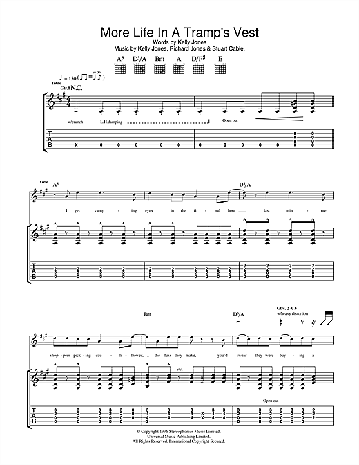Tablature guitare More Life In A Tramp's Vest de Stereophonics - Tablature Guitare