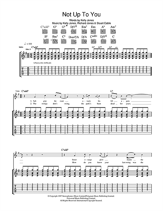 Tablature guitare Not Up To You de Stereophonics - Tablature Guitare