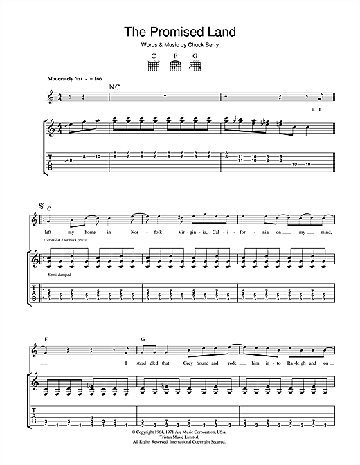 Tablature guitare The Promised Land de Chuck Berry - Tablature Guitare