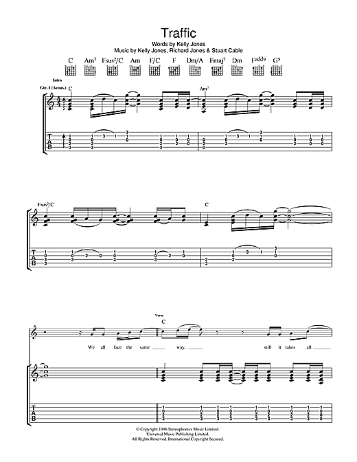 Tablature guitare Traffic de Stereophonics - Tablature Guitare
