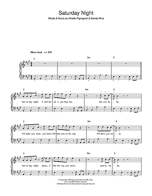 Saturday Night Sheet Music