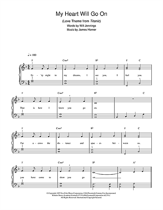 Piano tablature piano debutant : My Heart Will Go On (Love Theme from Titanic) partition par Celine ...