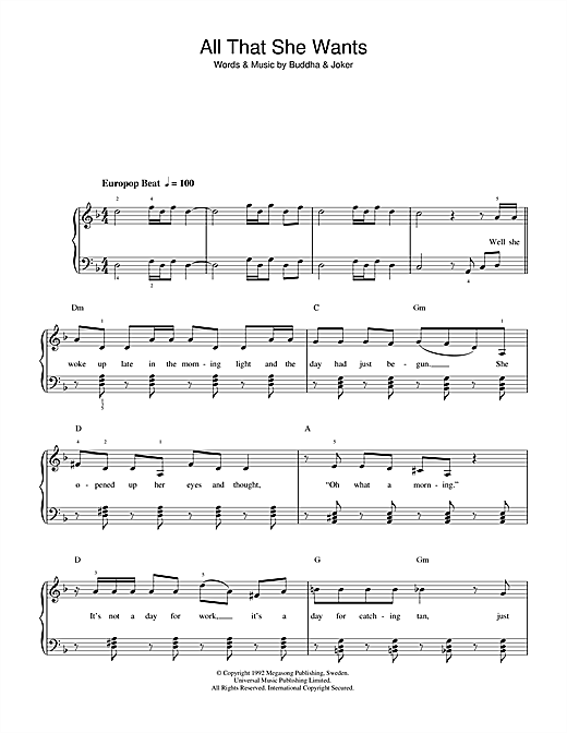 Partition piano All That She Wants de Ace Of Base - Piano Facile