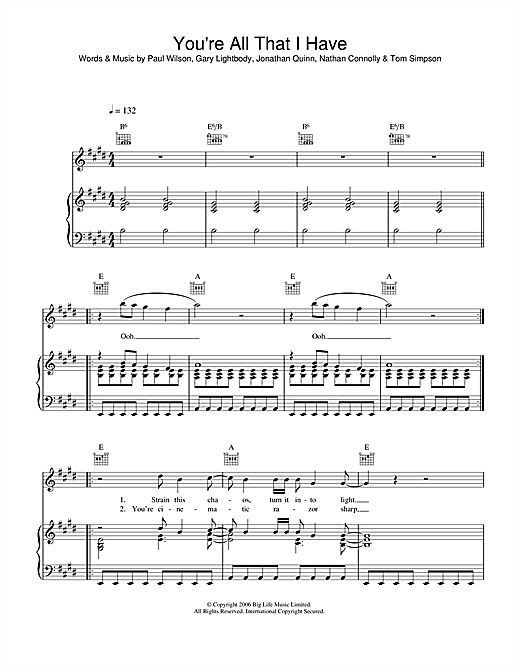 You're All I Have Sheet Music