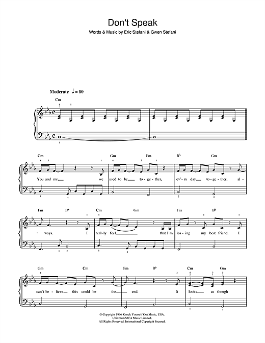 Dont Speak Sheet Music By No Doubt Beginner Piano 36735