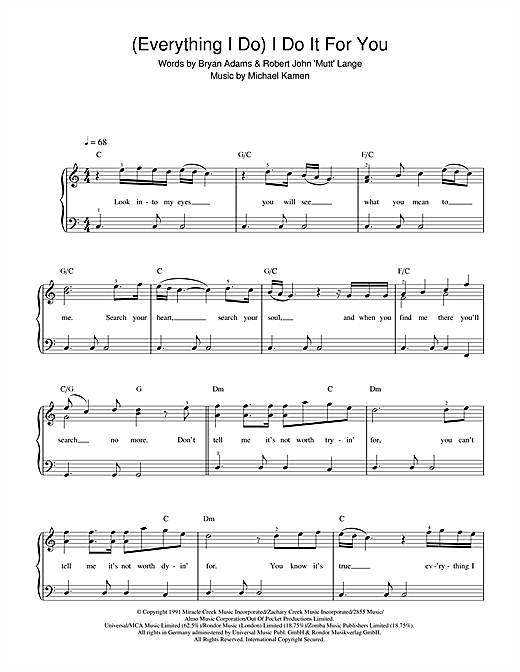 everything i do piano sheet pdf