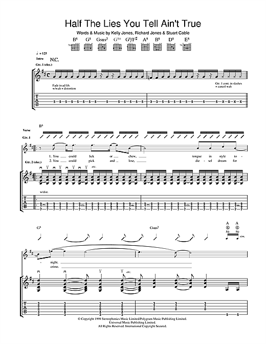 Tablature guitare Half The Lies You Tell Ain't True de Stereophonics - Tablature Guitare