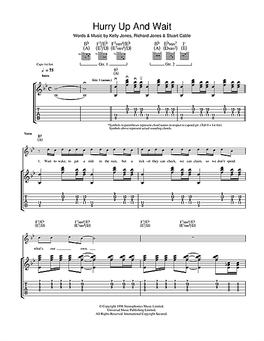 Tablature guitare Hurry Up And Wait de Stereophonics - Tablature Guitare