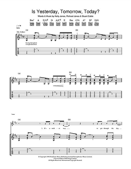 Tablature guitare Is Yesterday, Tomorrow, Today? de Stereophonics - Tablature Guitare