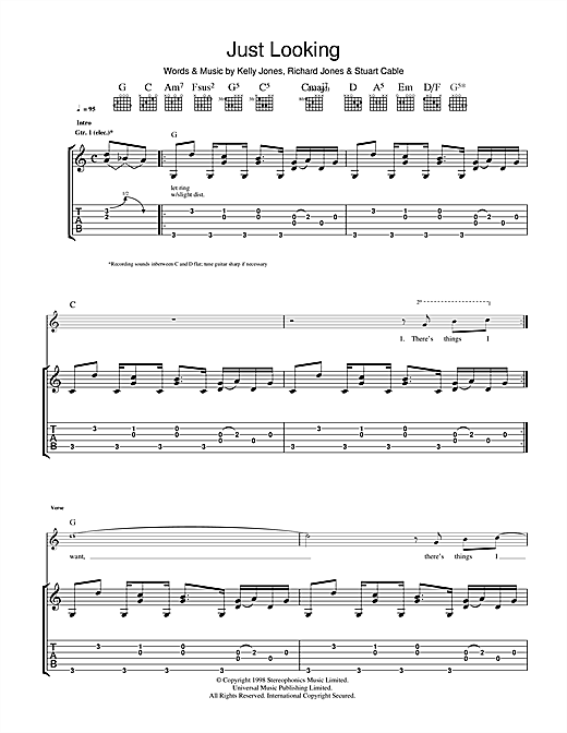 Tablature guitare Just Looking de Stereophonics - Tablature Guitare