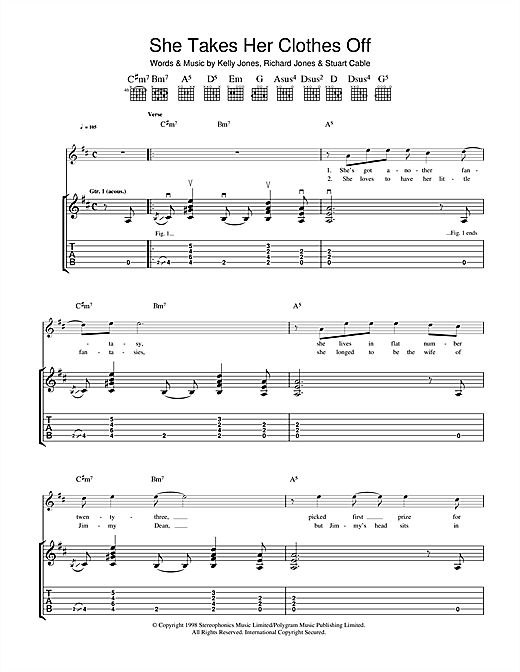 Tablature guitare She Takes Her Clothes Off de Stereophonics - Tablature Guitare