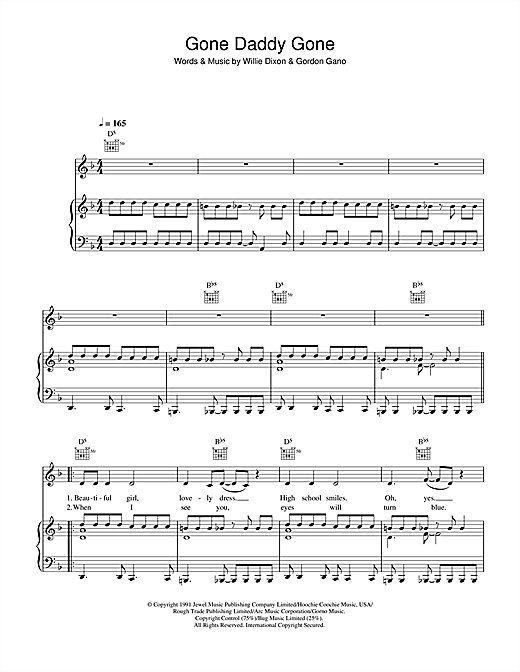 Gone Daddy Gone Sheet Music