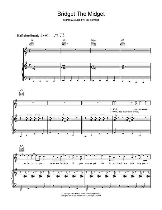 Partition piano Bridget The Midget de Ray Stevens - Piano Voix Guitare