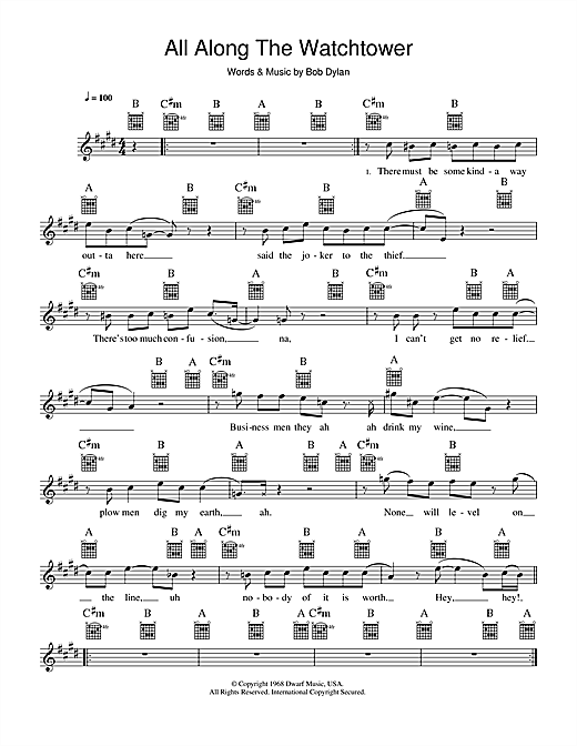 All Along The Watchtower (Lead Sheet / Fake Book)