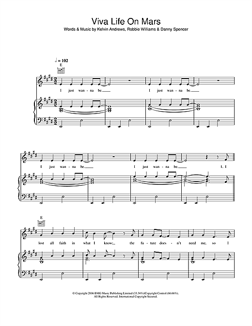 Viva Life On Mars Sheet Music
